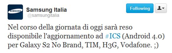 Inziato l'aggiornamento ad ICS deii Samsuns Galaxy S2 italiani