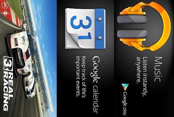 Real racing 3- Google Calendar- Google Play Music