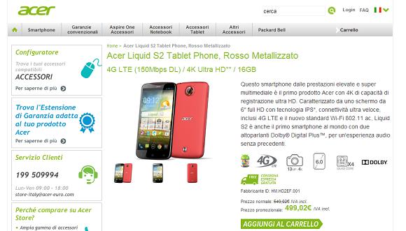 Acer Liquid S2: arriva in Italia a € 549,00