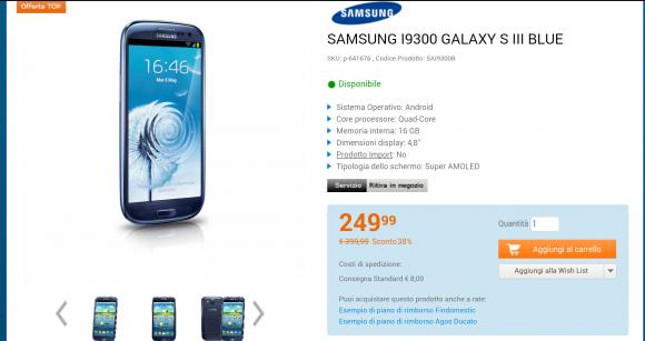 Samsung Galaxy S3 in offerta
