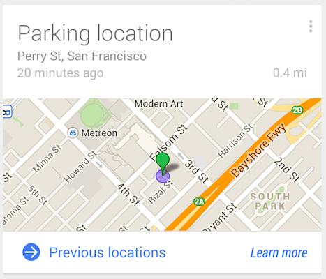 Luoghi di parcheggio Google Now